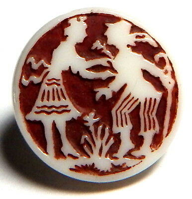 DELIGHTFUL 1930'S ENAMELED WHITE MILK GLASS BUTTON w/COUPLE CARVED ON FRONT