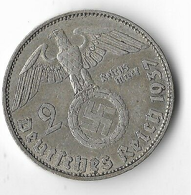 Rare Old SILVER 1937 WWII Germany Great War Eagle German MUNICH Coin US Ship O1