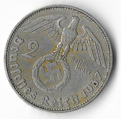 Rare Old Antique Silver 1937 WWII Germany Eagle Great War Collection Coin LOT:O2