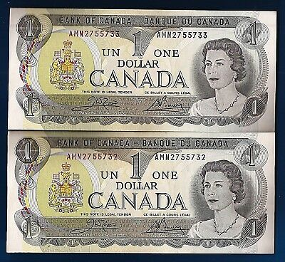 TWO 1973 CANADA Canadian consec ONE 1 DOLLAR BILL prefix AMN NOTES CRISP UNC