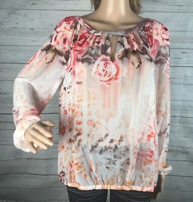 Jennifer Lopez Women Long Sleeve Gray Pink Floral Semi Sheer Blouse
