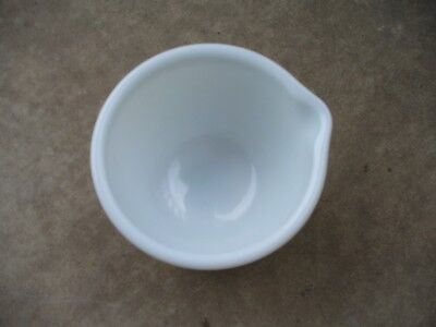 """Vintage Glasbake Made for Sunbeam 7B- 6"""" White Milk Glass Mixing Bowl with Spout"""