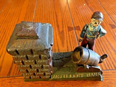 Vintage Cast Iron Artillery Bank