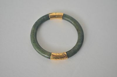 Vintage Chinese Natural Green Spinach Nephrite Jade 14K GP  Bangle Bracelet