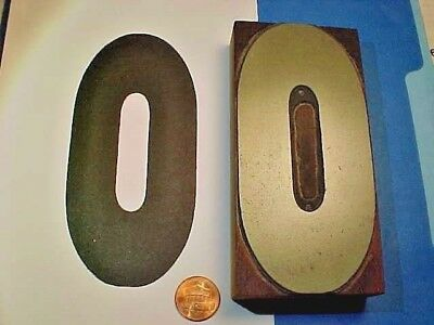 "VERY BIG Number ZERO - #0 - Numeral O - 2 3/8"" x 5"" OLD Letterpress Printers Cut"