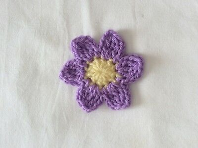 LILAC 7 PETAL CROCHET FLOWER  - 8 cm embellishment - made in Aust.