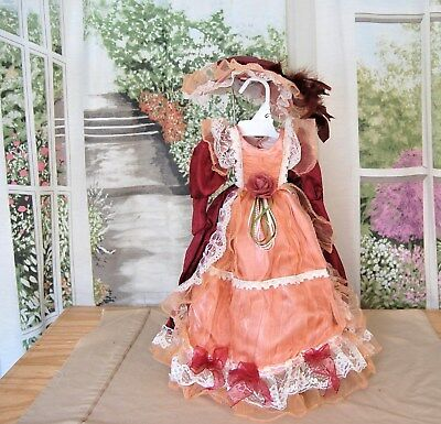 """Vintage French Victorian style Tea DRESS  & HAT 4 Antique French Lady doll 22"""""""