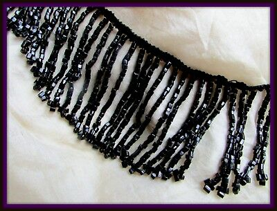 Sparkling Classy Antique Victorian Glass Dangle Bead Fringe Trim Jewelry Lamp