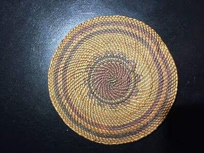 "Makah Northwest American Indian Basket Lid: 3.75"" across"