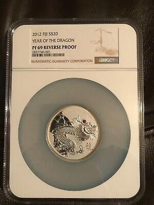 2012 Fiji Year of the Dragon $20 2 oz Silver Coin with Red Ruby NGC PF69 Rev Prf
