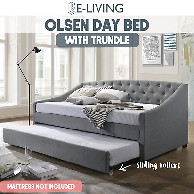 OLSEN Daybed with Trundle Bed Frame Fabric Upholstery Sofa Single Size Mattress