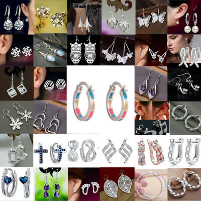 Fashion Women 925 Silver Ear Stud Hoop Dangle Earrings Wedding Bridal Jewelry CA