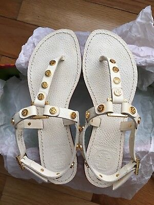 1879286d97216b Tory Burch Marge Tumbled Leather Logo Studded Sandal In White So Pretty!  Size 5
