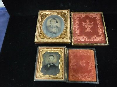 Lot of 2 Antique Ambrotype Photos in Cases-Young Men