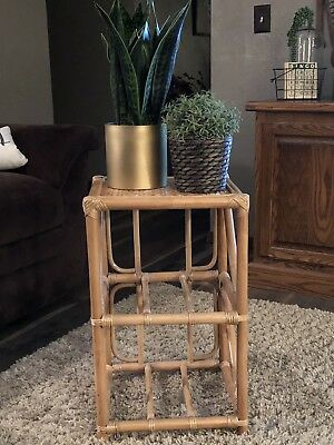 "Vintage Bamboo Rattan Wicker Plant Stand Side Table 23"" MCM. Boho Style."