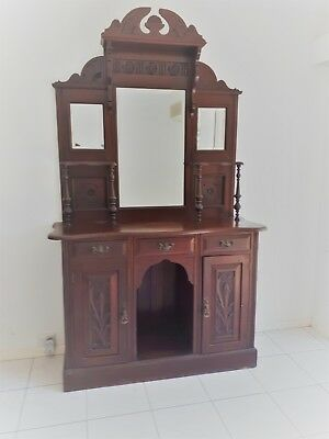 Victorian Silky Oak Carved Sideboard / Dresser with 3 mirrors