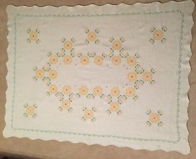 """Vintage Tablecloth Scallop Edges Gold Green Floral Cross Stitch 48"""" X 64"""""""