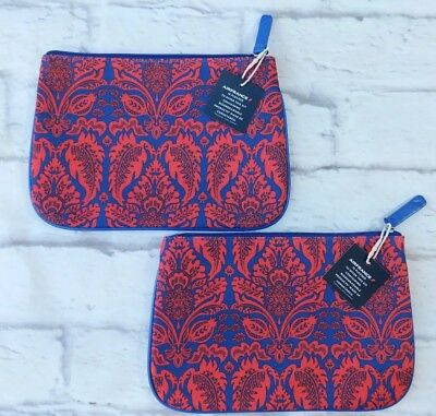 AIR FRANCE Amenity Bag Lot of 2 Toiletry Cosmetic Make-up Pouch Blue Red Paisley