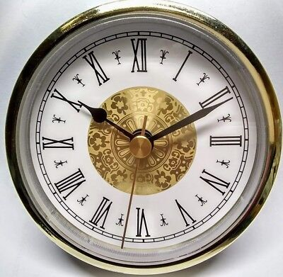 "Quartz 3-1/2""  Dia. Insert Clock Fit-Up Mechanism Roman Numbers Fits 3"" hole"