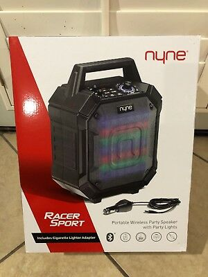 Nyne Racer - Portable Compact Bluetooth Speaker Featuring FM Tuner Party Lights