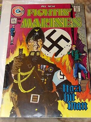 1974 # 117 Fightin Marines Charlton Comic book White pages German WW2 Cover cool