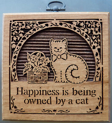 """Vtg. Lasercraft Happiness Is Being Owned By A Cat Art Wood Plaque 4x4"""""""