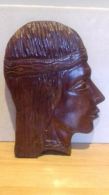 Vintage...wooden Face Wall Plaque..wood Wall Hanging..face..retro