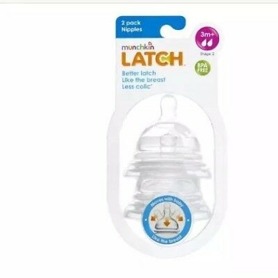 Munchkin Latch Stage 2 Nipple NEW Baby Feed Infant Child Bottle Food Natural (2)