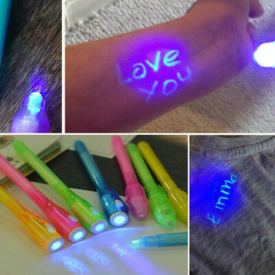 Creative Magic UV Light Invisible Ink Pen Funny Marker Pen Highlighters Gift~