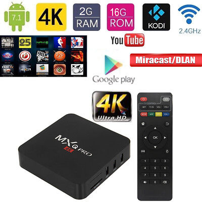MXQ PRO 2GB 16GB Android 7.1 Quad Core Smart TV Box 4K HD WiFi Media Player KODI
