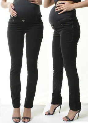 Maternity Over Bump Straight Leg Trousers Pregnancy Stretch Corduroy Pants 8-18