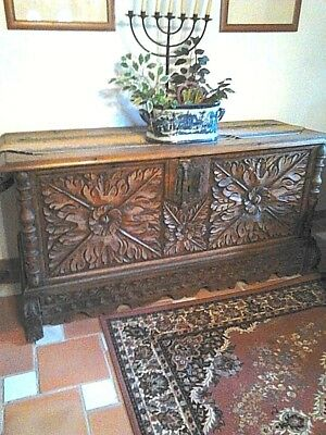 REDUCED !  Very Large Antique Spanish Carved Chest/Coffer