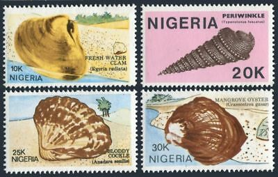 Nigeria 513-516,MNH.Michel 499-502. Seashells,1987.Clam,Periwinkle,Cockle,Oyster