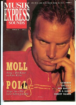 MUSIK EXPRESS Sounds  Nr.2   1991 :  Sting   Eno/Cale   Rainbirds  Robert Palmer