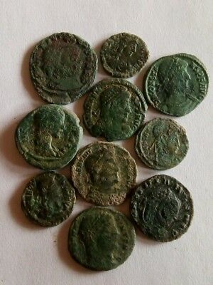 69.Lot of 10 Ancient Roman Bronze Coins,Fine