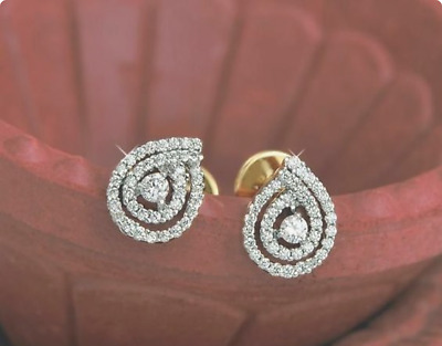 0.80 Ct Round Cut Diamond Solitaire Stud Earrings 14K Yellow Gold Finish