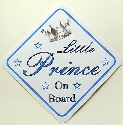 Handmade Non Personalised Little Prince Baby on Board Car Sign ~ Blue