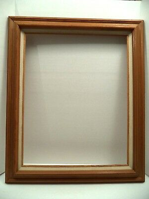 """Brutalist 16x20 picture frame wormy wood linen fillet vtg 2.5"""" molding Mexico"""