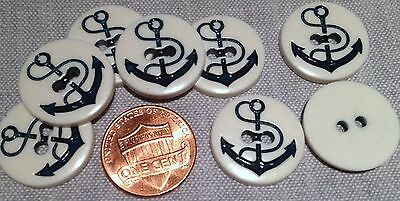 """8 White & Navy Blue Anchor Nautical Plastic Buttons 3/4"""" 19mm # 7722"""
