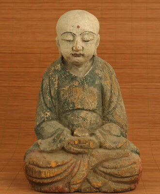 unique chinese old wood hand carved buddha monk statue figure collectable