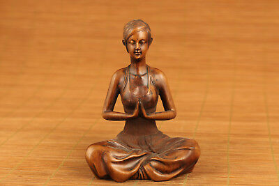 chinese old boxwood hand carved yoga unique statue art netsuke collectable