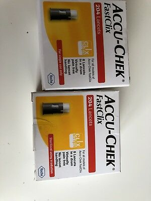2 Boxes Of accu-chek fastclix lancets 200+4 new and sealed 12/2019