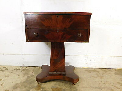 1800s Antique Flame Mahogany Double Locking Empire Flip Top Table Sewing Stand