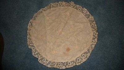 "#1/11Z Antique Pillowcase 14"" R w B French Net Lace Embridered Boudoir Tambour"
