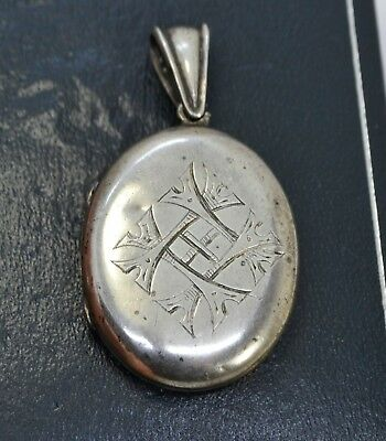 Victorian REAL SILVER Ornate Cross Pattern Hand Engraved Antique LOCKET Pendant