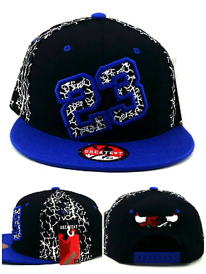 4df7c1f711194e Chicago New Greatest 23 MJ Jordan Bulls Black Blue Cement Era Snapback Hat  Cap