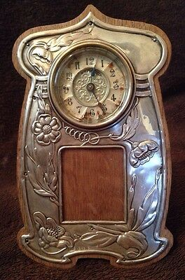 Joseph Gloster Art Nouveau Sterling & Oak Easel Clock- Hall marked Birmingham