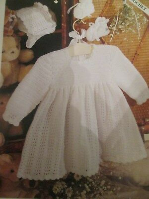 Knitting Pattern lovely Babys Crochet Dress Bonnet & Bootees Size 16-20