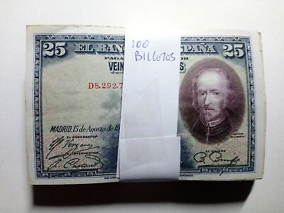 Lote De 100 Billetes España Billete 25 Pesetas 1928 Usados Spain Banknote Lot