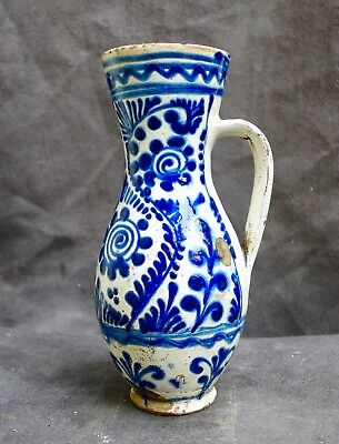 Nice Antique Majolica jug with a flower decor Hungary Hungarian 18th. 19th. cent